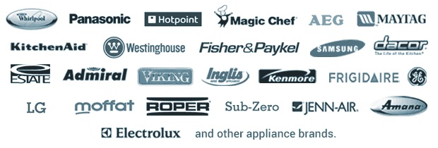 picture of all brands we perform fridge repair on