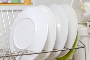 dish is placed on the shelves in the kitchen